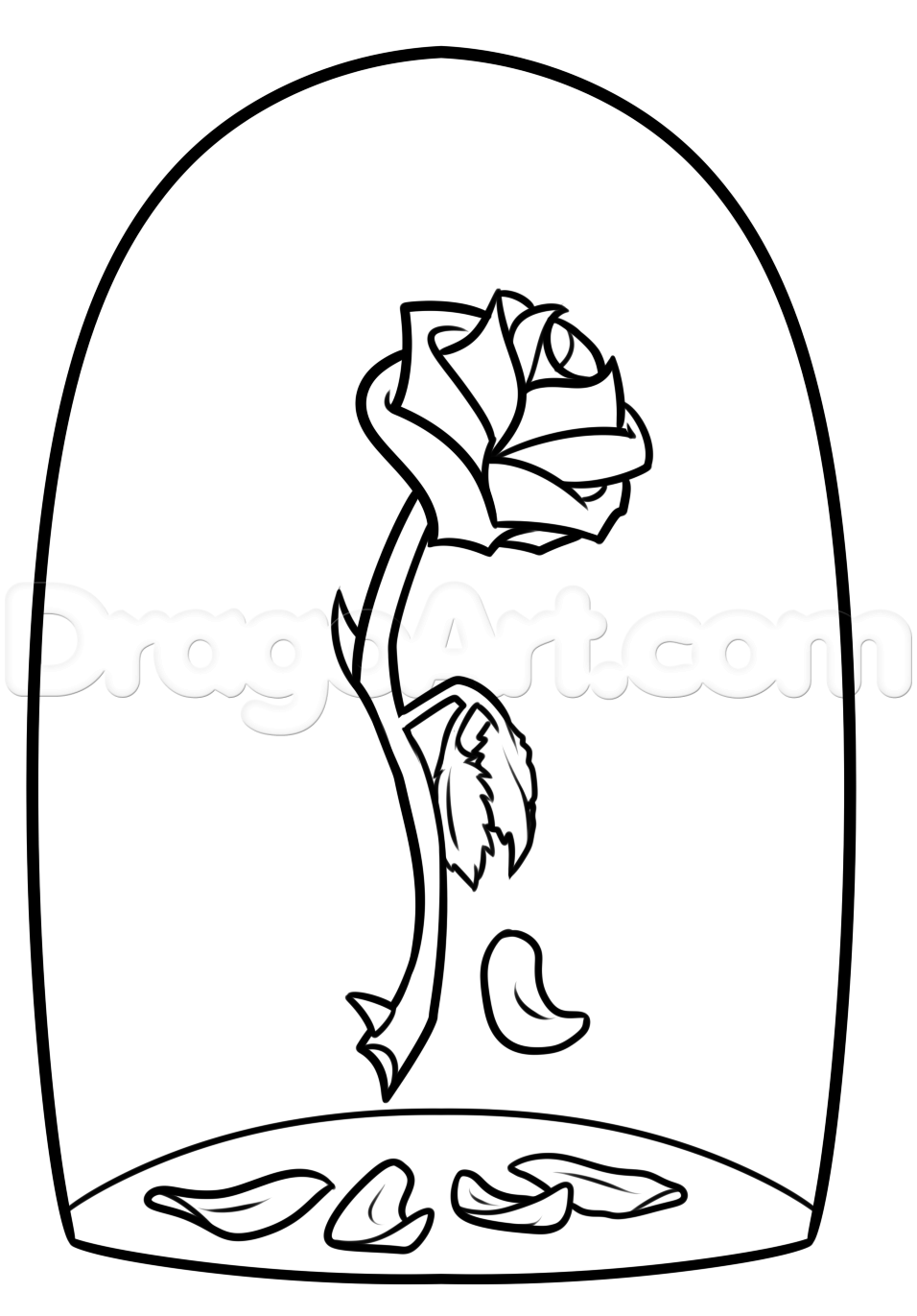 beauty and the beast rose drawing step 7.