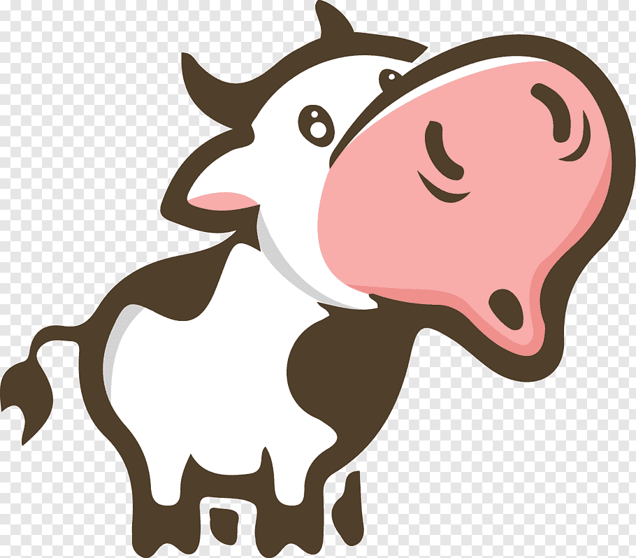 White and black cow illustration, Charolais cattle Moo.