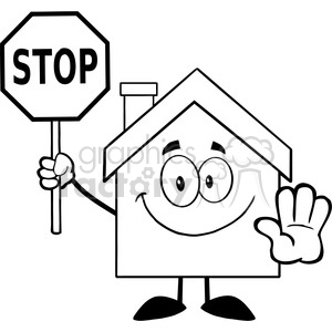 6471 Royalty Free Clip Art Black and White House Cartoon Character Holding  A Stop Sign clipart. Royalty.