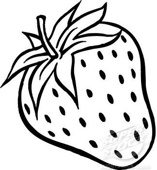 A black and white drawing of a plump strawberry.