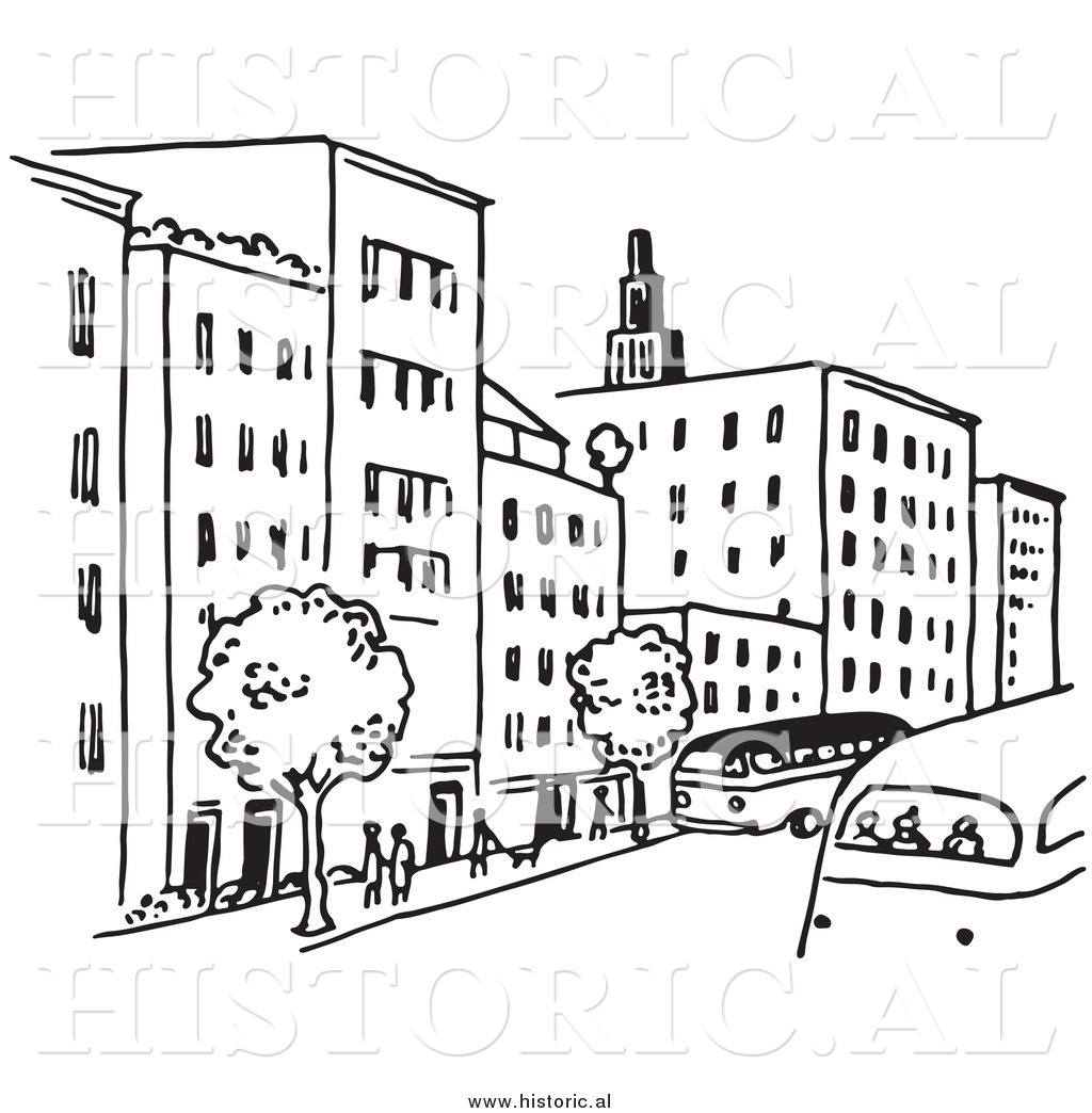 Clipart of a City Street with Buildings, Trees, People, and.