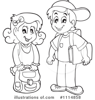 Black And White Clipart Kids.