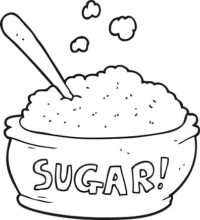 black and white cartoon sugar bowl Clipart Image.