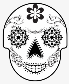 Free Sugar Skull Black And White Clip Art with No Background.