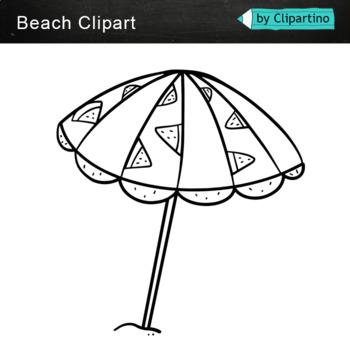 Beach clipart bw: Summer clipart black white.