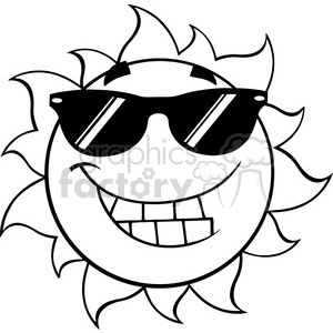 black and white smiling summer sun cartoon mascot character with sunglasses  vector illustration isolated on white background clipart. Royalty.