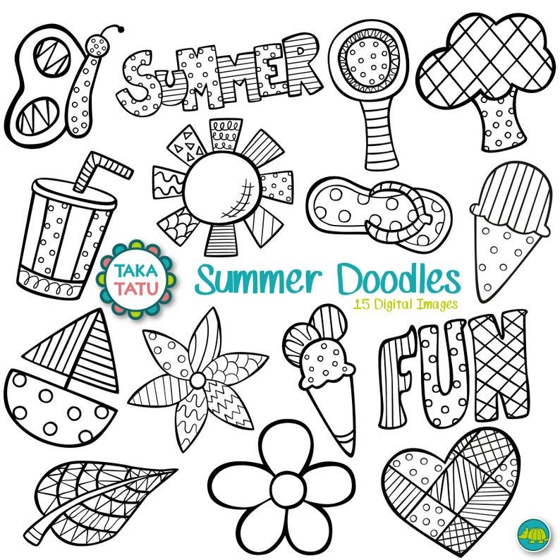 Summer Doodles Digital Stamp Pack.