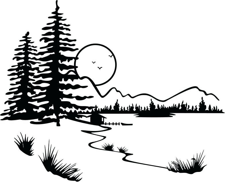 Sunset Tree Clipart Black And White.