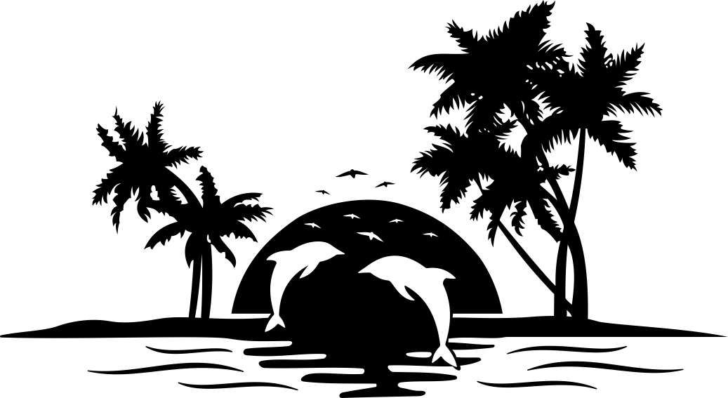 Palm Tree Sunset Clipart Black And White.