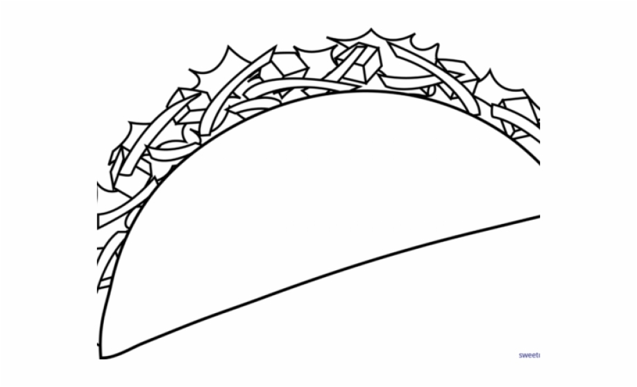 Fish Taco Clipart Coloring Taco Black And White.