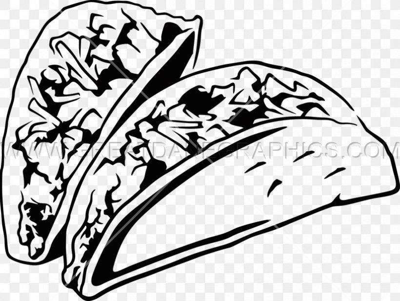 Black And White Taco Mexican Cuisine Burrito Clip Art, PNG.