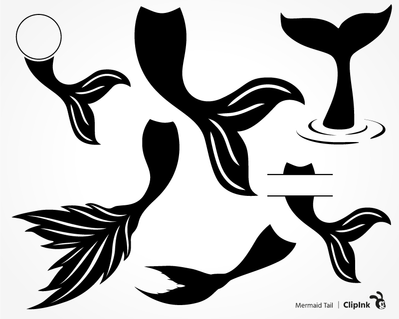 Mermaid Tail Clipart Black And White.