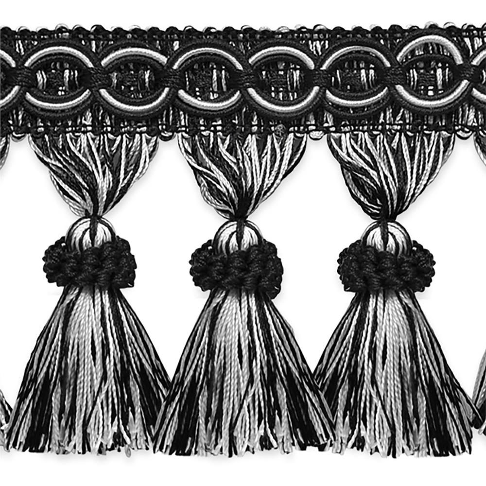 Kylie Classic Tassel Fringe Trim Black/White.