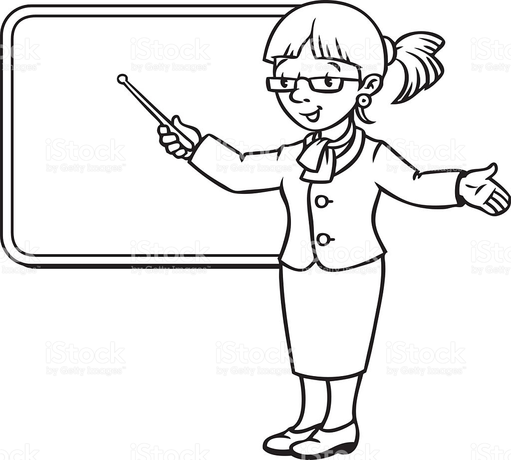 Clipart Teacher Black And White.