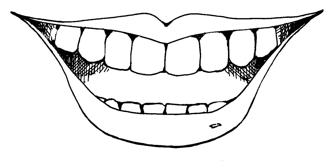 Teeth mouth clipart black and white.