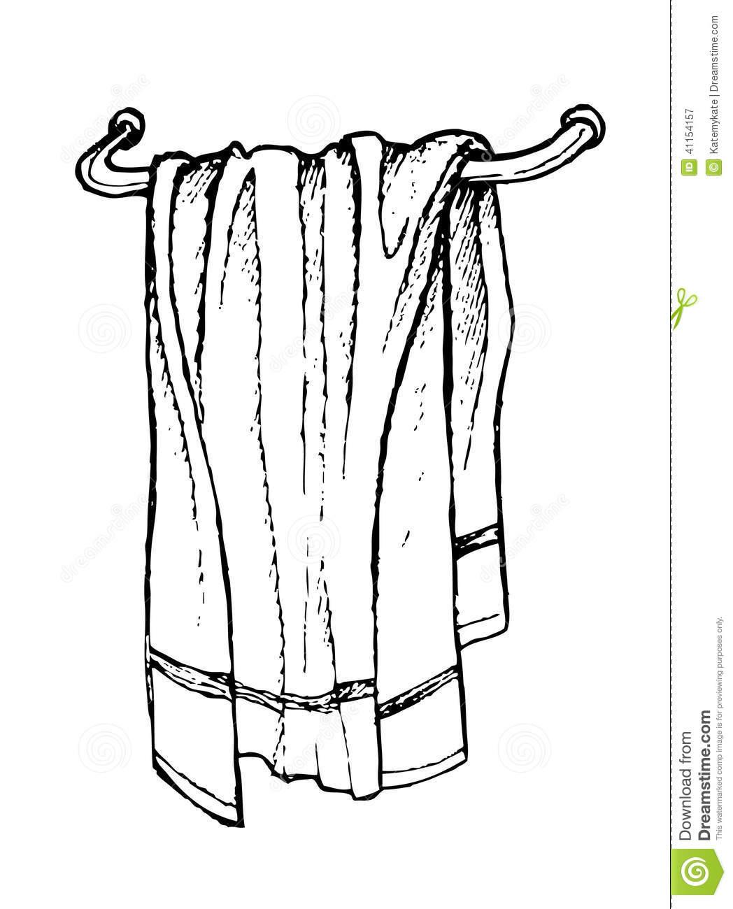 Bath Towel Clipart Black And White.