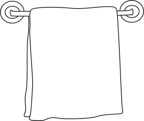 Black and White Towel on a Rack.