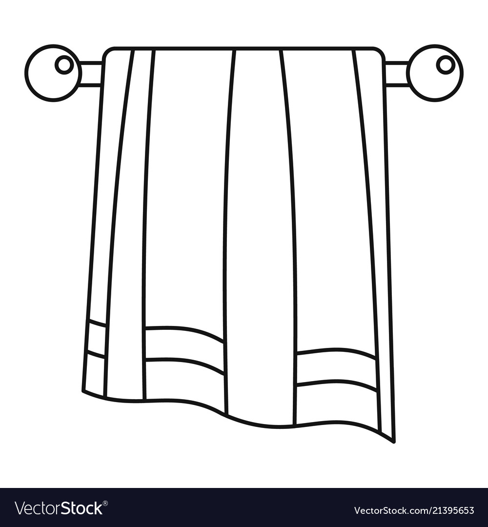 Bathroom towel icon outline style vector image.