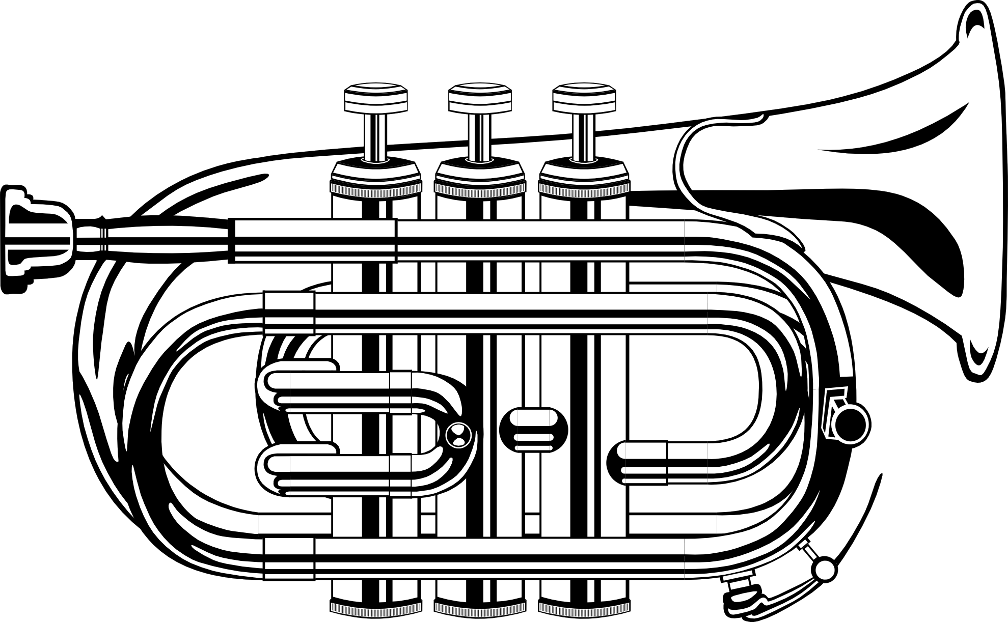 Trumpet black and white clipart kid.
