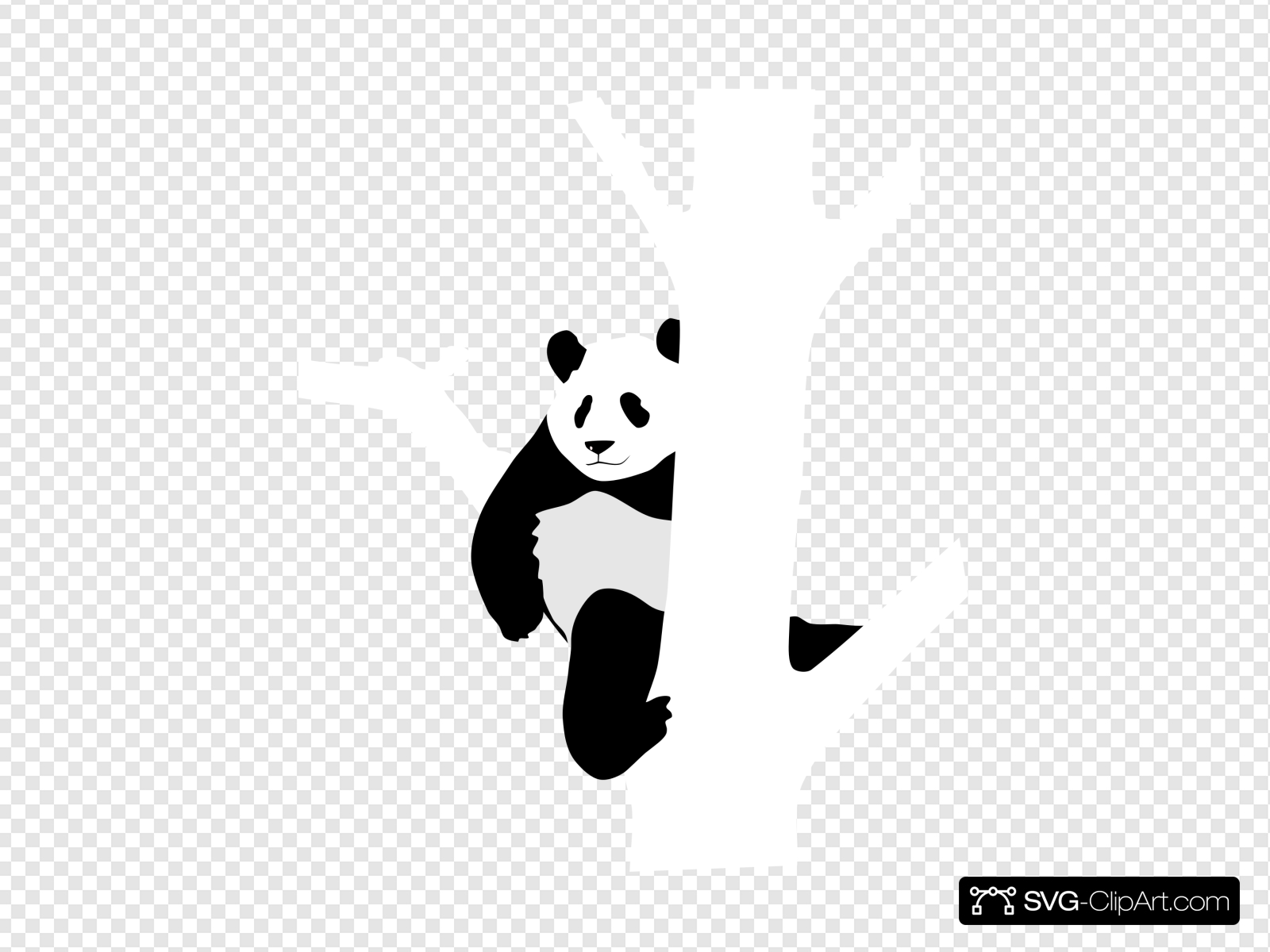 Panda In A Tree Clip art, Icon and SVG.