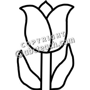 Clip Art: Tulip (B&W).