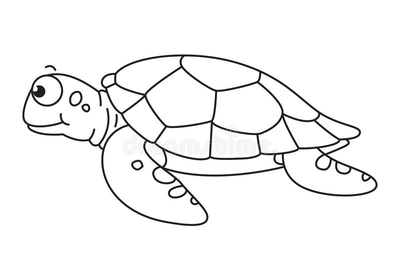 Sea Turtle Clipart Black And White Cartoon Vector Stock Beautiful.