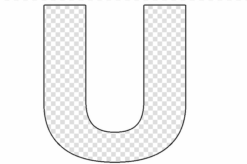 Black letter U drawing transparent background PNG clipart.