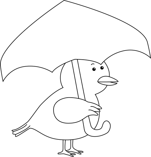 Black And White Bird Holding An Umbrella Clip Art.