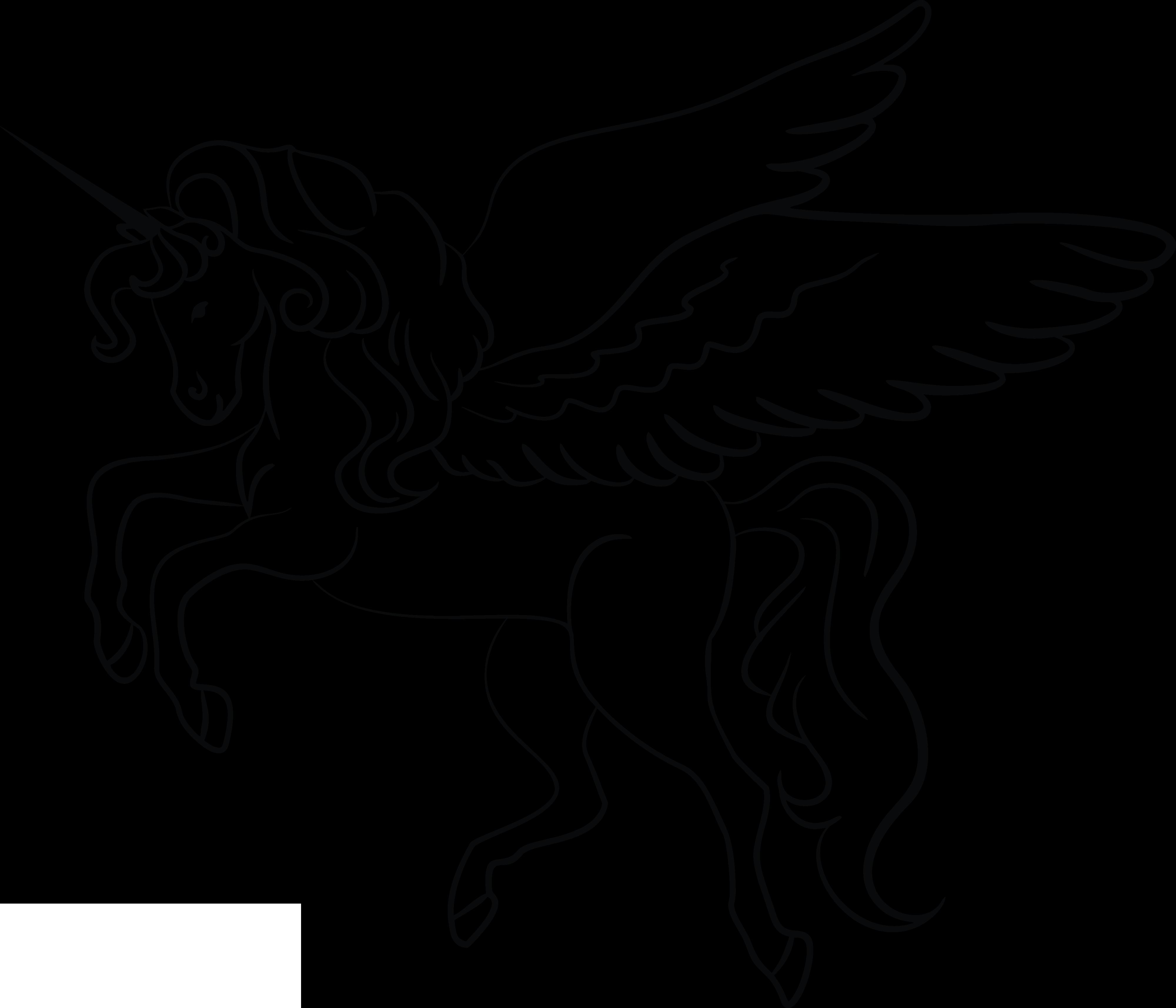 54 Unicorn Black And White free clipart.