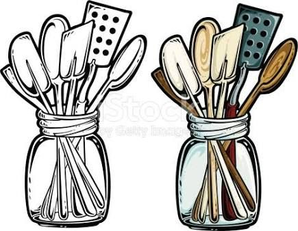 Image result for cooking utensils clipart black and white.