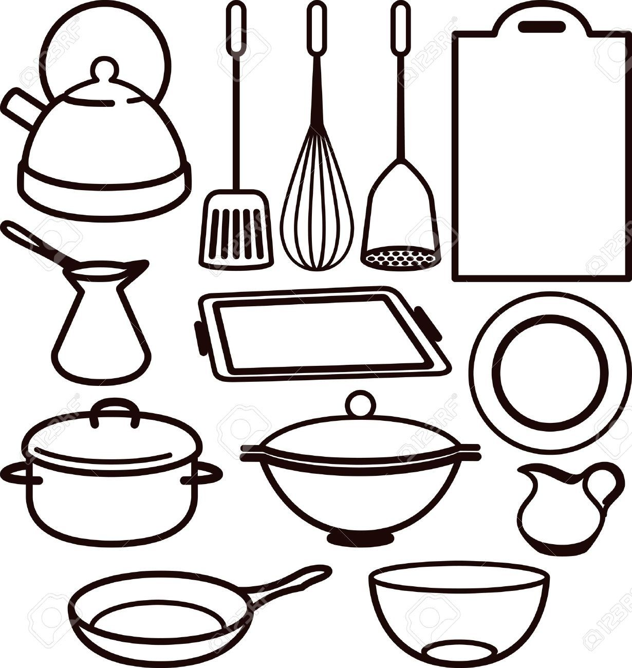 Best Of Cooking Utensil Clipart Black.