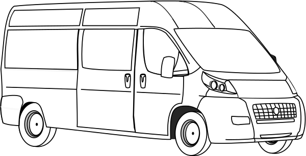 Black And White Clipart Van.