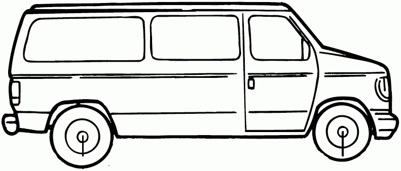 Black And White Van Clipart.