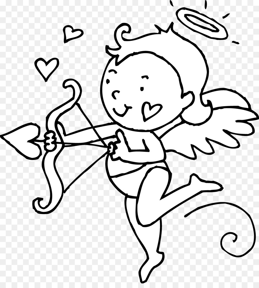 Cupid Valentines Day Black and white Heart Clip art.