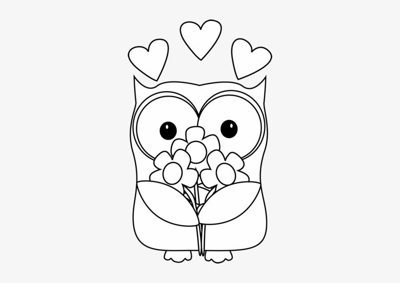 Black And White Valentine\'s Day Owl Clip Art.