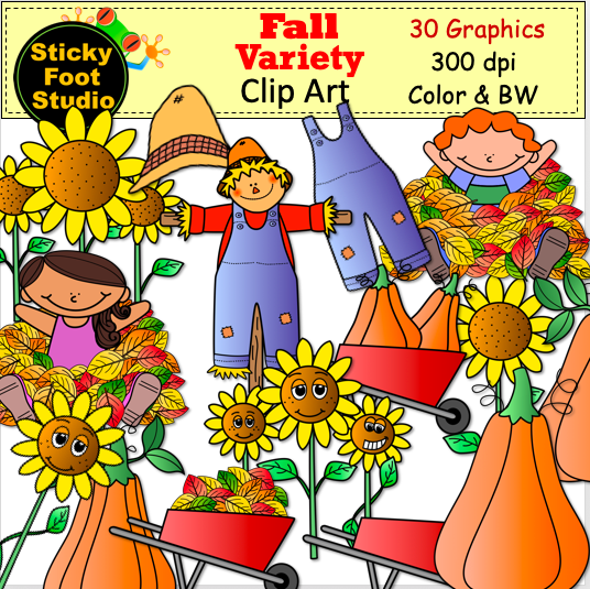 Fall Clip Art Variety Set.