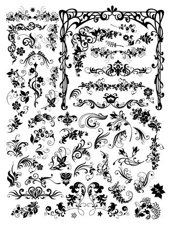 A variety of European style black and white pattern vector m.