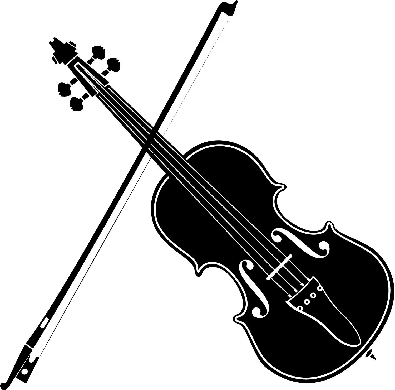 Playing Violin Clipart Black And White.