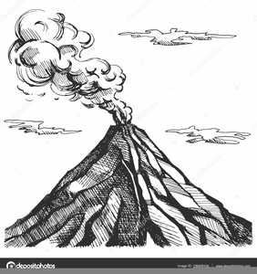 Volcano Clipart Black And White.