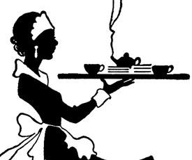 Vintage Black and White Waitress image.