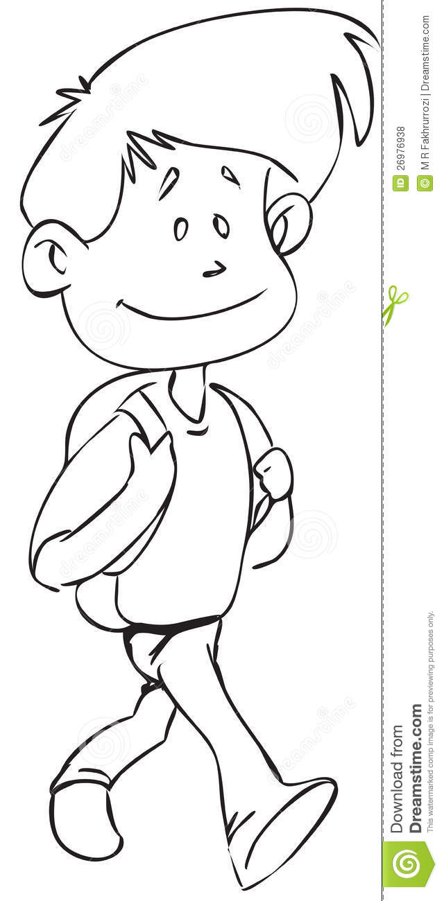Walking Boy Clipart Black And White.