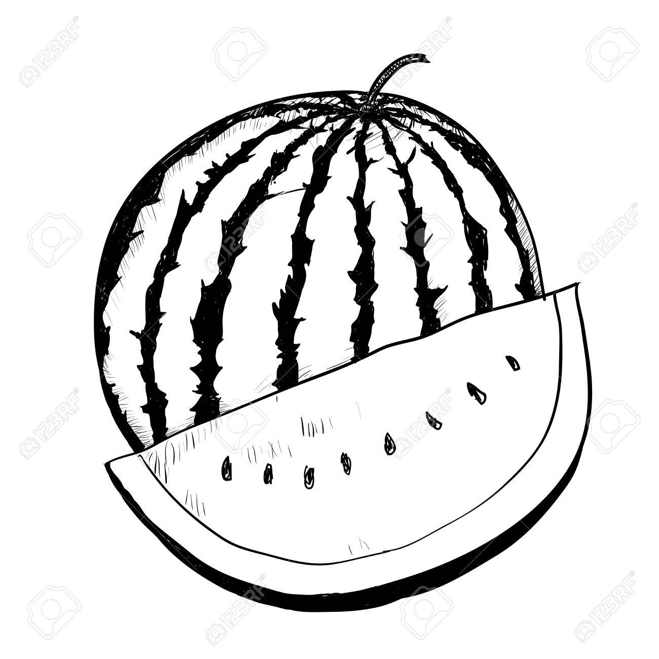 Black And White Clipart Watermelon.