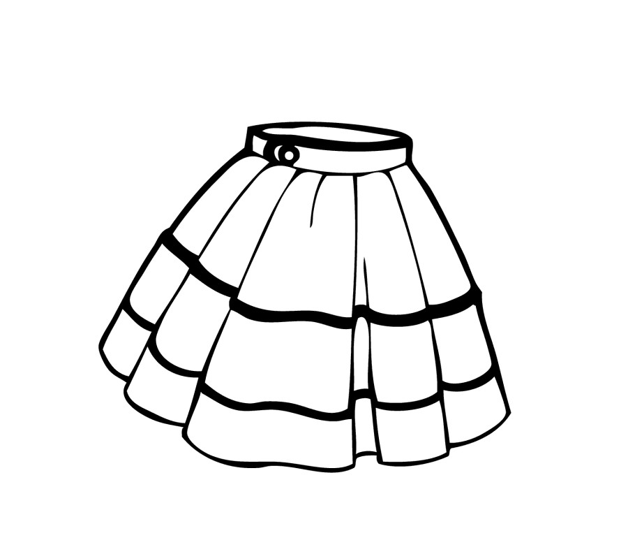 Clothes For Girls Clipart Black And White.