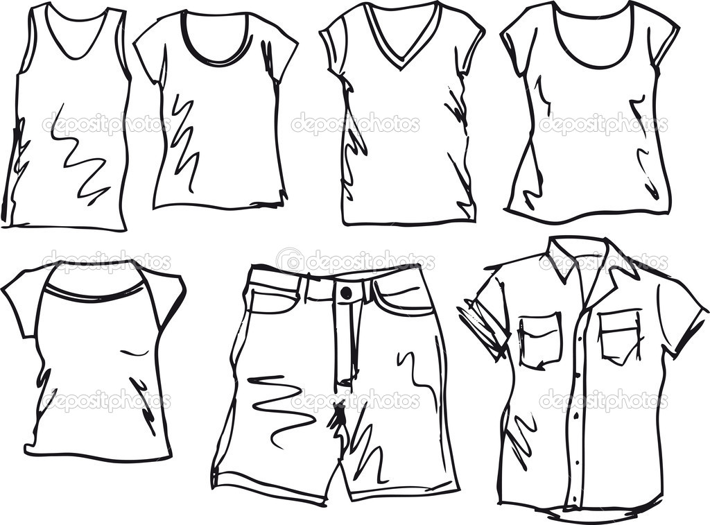 Summer Clothes Clipart Black And White.