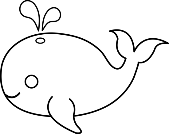 Cute Whale Clipart Black And White.