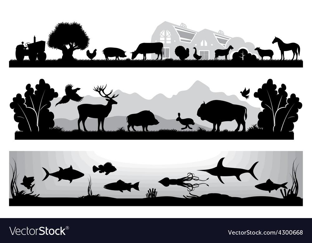 Set of black and white landscapes wildlife farm.