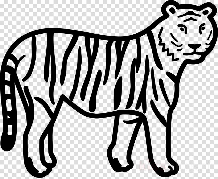 white terrestrial animal line art wildlife black clipart.
