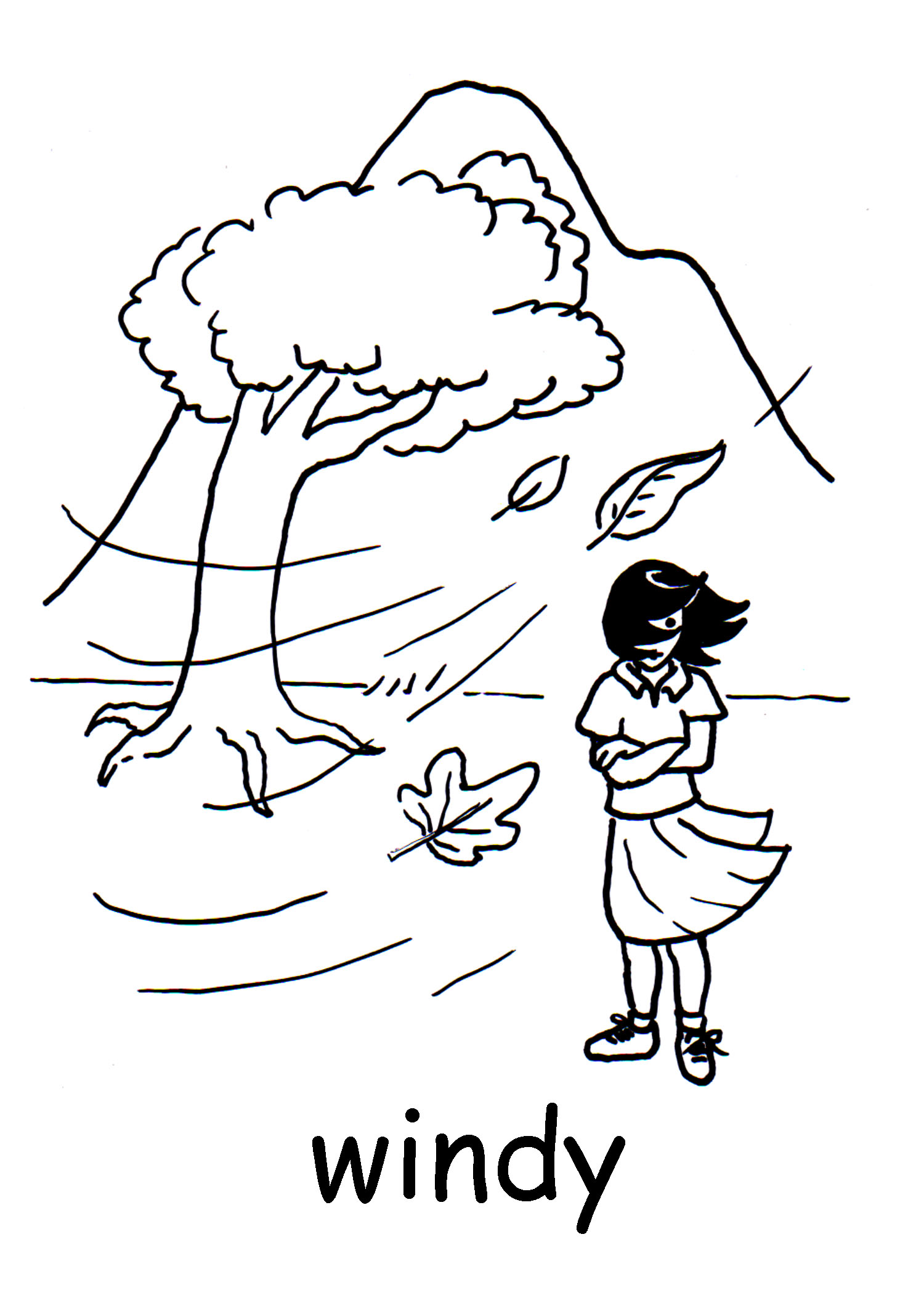 Windy Day Clipart Black And White.