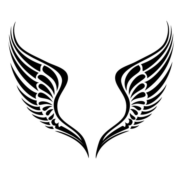 Free Vectors: Black & White Tribal Wings.
