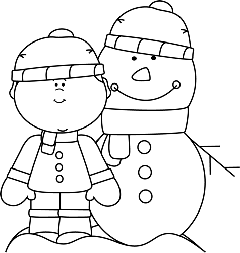 Black and White Boy with Snowman Clip Art.